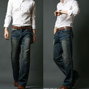 Men's Classic Boot Cut Denim Jeans with Elastic Slim Fit