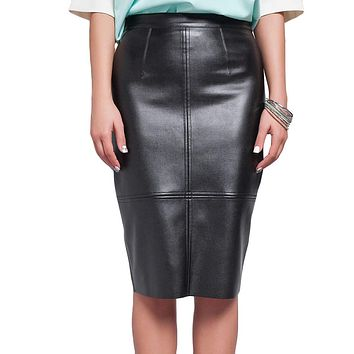 Ladies PU Leather Pencil Midi Skirts 2017 Fashion Summer Autumn Women High Waist Skirt Faux Leather Saia Faldas Largas