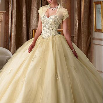 [199.99] Amazing Tulle Sweetheart Neckline Ball Gown Quinceanera Dress With Detached Jacket - dressilyme.com