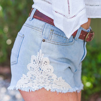 Lace On Me Denim Shorts