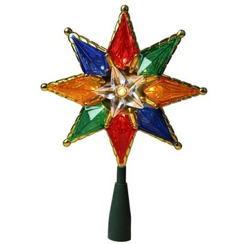 "8"" Multi-Color Mosaic 8-Point Star Christmas Tree Topper Clear Lights"