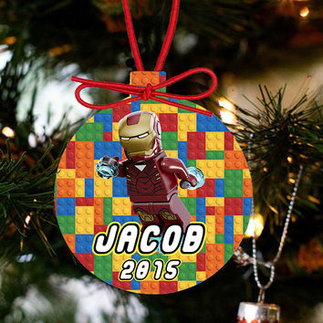 Personalized Christmas Lego Ornament LEGO Movie - IRON MAN