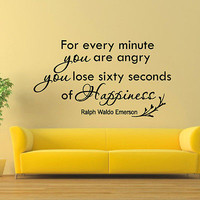 WALL DECAL VINYL STICKER RALPH WALDO EMERSON QUOTE FOR EVERY MINUTE YOU ARE SB24