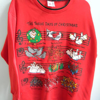 Vintage Ugly Oversized Christmas Sweater: Twelve Days of Christmas