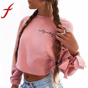 Feitong Women Cropped Sweatshirts Letter Embroidery Long Sleeve Bandge Short Sweatshirt Crop Tops Pullovers sudaderas mujer 2017