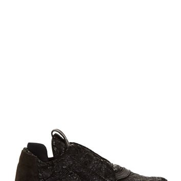 Ca By Cinzia Araia Black Crinkled Leather Sneakers