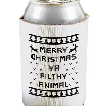 Merry Christmas Ya Filthy Animal Christmas Sweater Can and Bottle Insulator Cooler