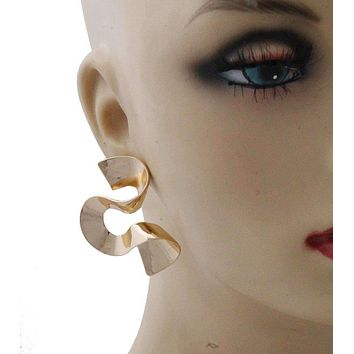 Gold Curved Dramatic Post Earrings