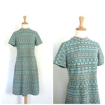Mod 60s Shift  Dress / 1960s dress / sheath dress / womens aline dress / mad men fashion / go go dress / medium