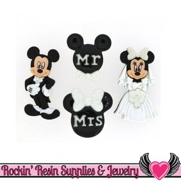 Disney MICKEY and MINNIE MOUSE Wedding Bride & Groom Buttons Or Turn them into Flatback Cabochons