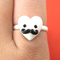 Adjustable Heart Shaped Mustache Moustache Ring in Silver
