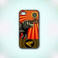 Elephant Art - Design Print for iPhone 4/4s Case or iPhone 5 Case - Black or White
