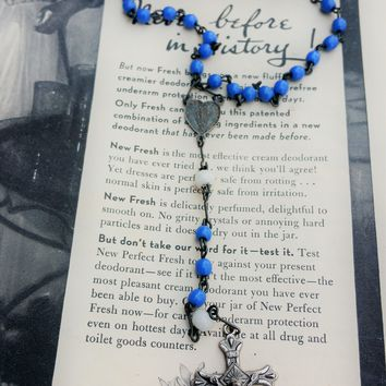 Sterling silver french blue glass Marie Concue rosary with rhodium crucifix