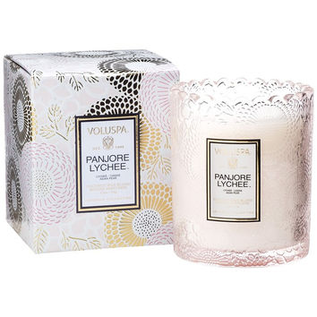 VOLUSPA EMBOSSED GLASS SCALLOPED EDGE CANDLE - PANJORE LYCHEE