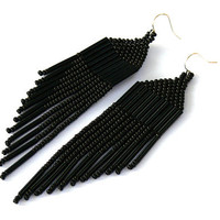 Black Earrings. Dangle Long Earrings. Beaded Fringe Earrings. Beadwork.