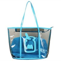 Travel Beach Large Clear Tote Bag with Zipper Closure and Cosmetic Bag (Blue)