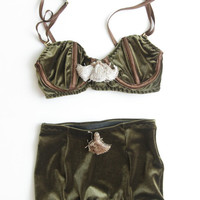 HUNTER - khaki velvet and tassel lingerie set - Ready to ship