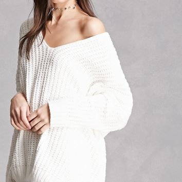 Ribbed Fleece V-Neck Sweater