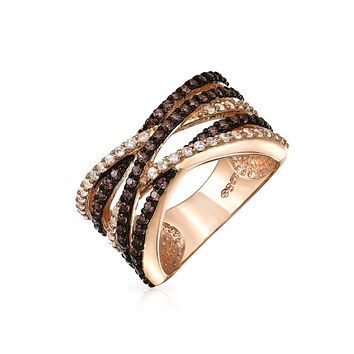 Criss Cross Two Tone Brown AAA CZ Band Ring Rose Gold Plate Brass