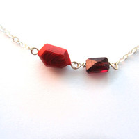 Genuine garnet necklace on sterling silver. Handmade geometric jewelry.  Small red gemstone layer necklace. Modern dark red facet necklace.