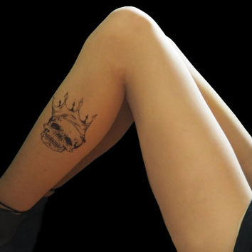Skull crown, tattoo tights, skull crown tattoo