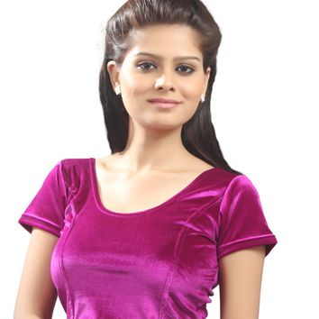 Magenta Velvet Chic Ready-made Saree Blouse Sari Choli - A-9