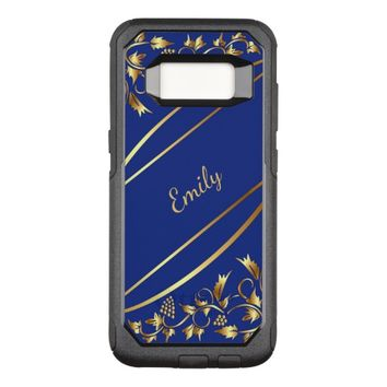 Blue and chic gold colored classic decor with name OtterBox commuter samsung galaxy s8 case