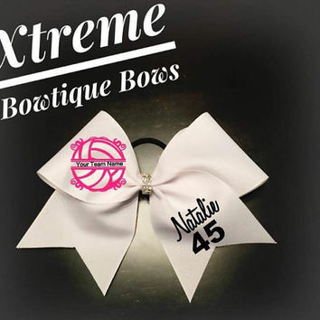 Pink Volleyball Bow with Bling Center Custom Cheer Bows, Personalized for All Occassions