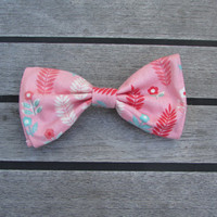 Pink and Blue Feather Hair Bow