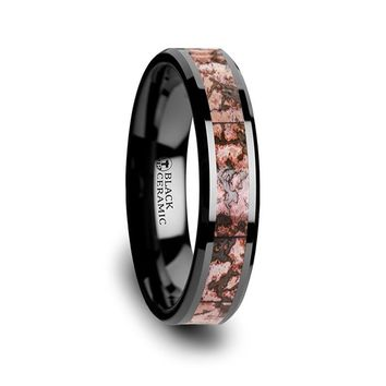 Pink Dinosaur Bone Black Ceramic Wedding Ring