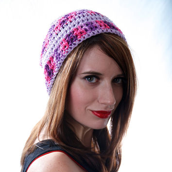 Crochet Striped Beanie Hat in Lavender Pink and Purple Small