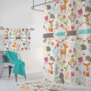 WOODLAND SHOWER CURTAIN, Wood Forest Friends Bathroom Decor, Woodland Bathroom Decor, Personalized Kid Shared Bathroom Set Towel Mat Option