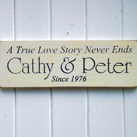 A True Love Story Personalized Wedding Sign