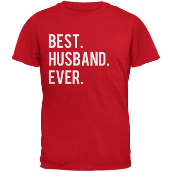 Valentine's Day Best Husband Ever Stacked Red Adult T-Shirt