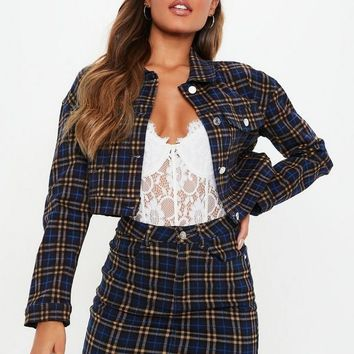 Missguided - Blue Checked Super Stretch Denim Skirt