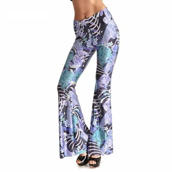 Porcelain Embroidery Bell Bottom Pants