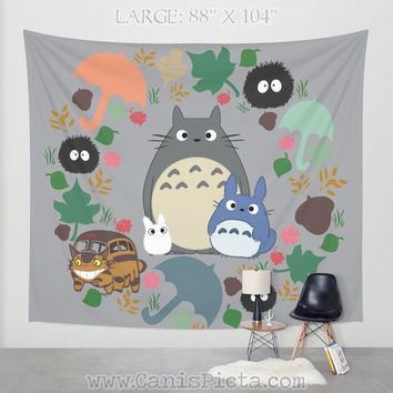 Totoro Kawaii TAPESTRY Decorative Wall Art Anime Soot Catbus Grey Blue White Manga Troll Hayao Miyazaki Studio Ghibli Home Decor Hanging