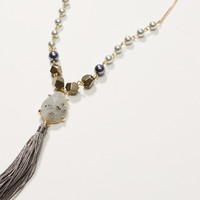 Iridescent Stone Tassel Necklace | LOFT