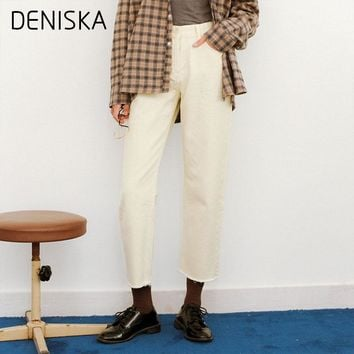 DENISKA White Jeans Woman 2018 New Preppy Casual Style Loose High Waist Ankle Length Wide Leg Jeans Pants Boyfriend Vestido