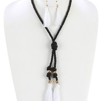 White Double Tassel Knotted Rope Cord Necklace And Earring Set