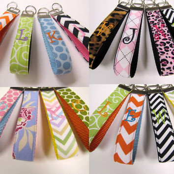 Monogrammed 1 Letter Fabric Wristlet Key Fob by creationsbyarlene