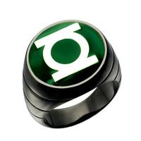 Green Lantern Inspired Silver Ring Blackest Night Style Jewelry
