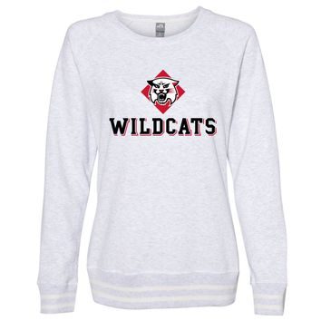 Official NCAA Davidson College PPDSC04 Women's Crewneck Sweatshirt with White Striped Edges