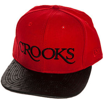 The Thuxury Serif Strapback Hat in True Red and Black Ostrich