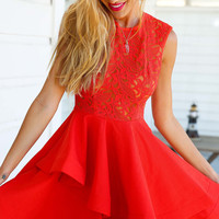 Making Waves Dress (red)