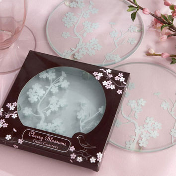 Cherry Blossoms Glass Coasters