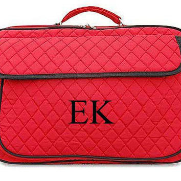 Monogrammed Laptop Case  Red with Black Trim Personalized Laptop Case  Embroidery Monogram Laptop Bag