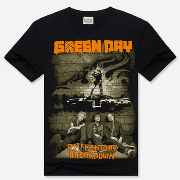 Black 3D Green Day Print Short Sleeve Graphic T-Shirt