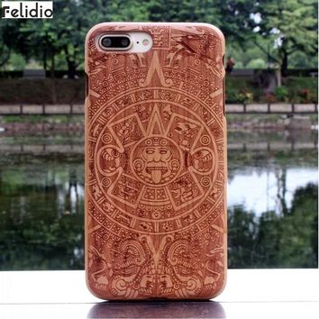 Felidio Wooden Case for iPhone 6 6s 7 Plus Covers for iPhone 8 iPhone 8 Plus Cases Hardcase for iPhone SE 5s 5 Handmade Carving