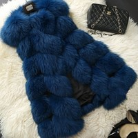 Navy Blue Plush Faux Fur Sleeveless Coat Vest
